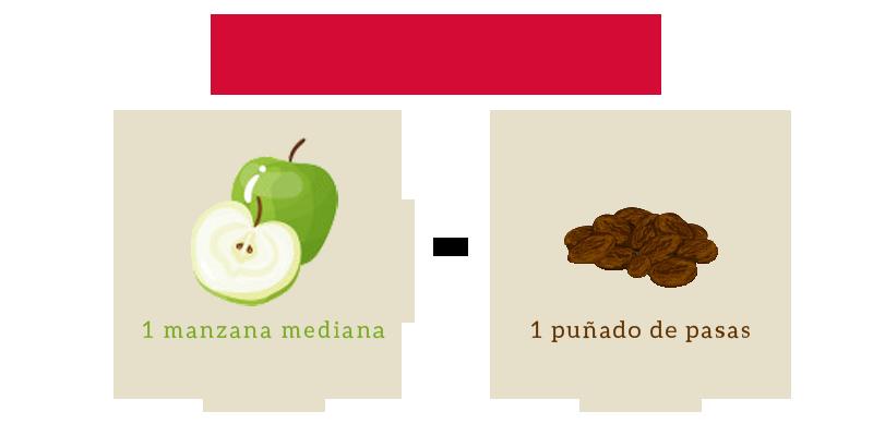 Diferencia nutricional entre manzana y pasas